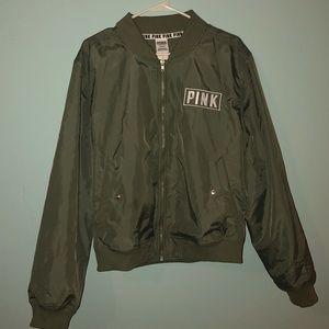 PINK Victoria's Secret Jackets & Coats - Pink Army Green Bomber Jacket